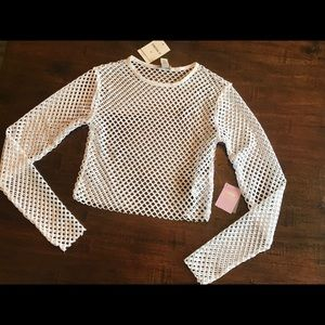 Forever 21 White Netted Top